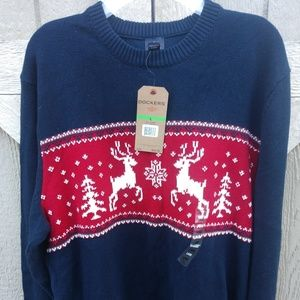 Dockers, new, Navy blue sweater with reindeer